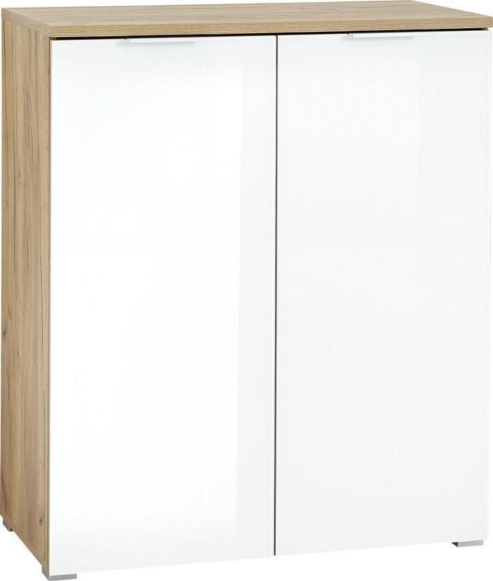 Opbergkast Telde 104 cm hoog in navarra eiken met wit