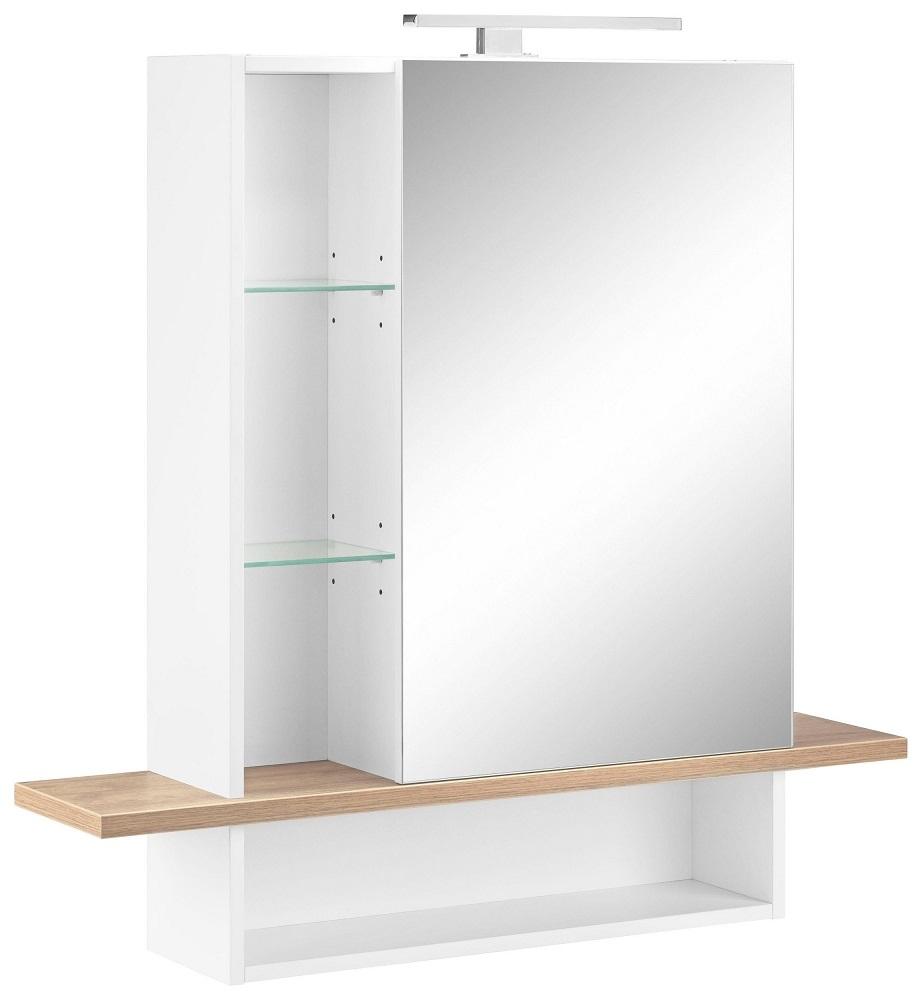 Spiegelkast Novolino 90 cm breed – Wit met Navarra eiken