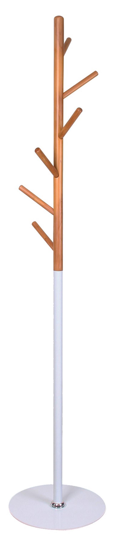 Staande kapstok Izzy 170 cm hoog in wit met beuken