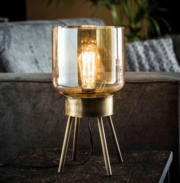 Tafellamp Amber 39 cm hoog in brons antiek