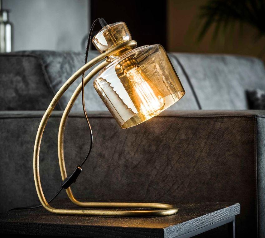 Tafellamp Amber 45 cm hoog in brons antiek