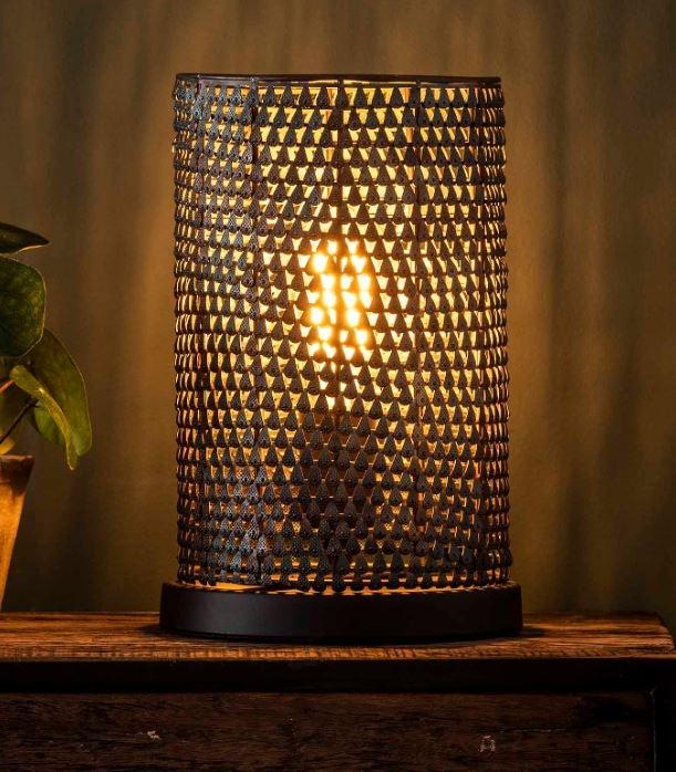 Tafellamp Armor Kegel 30 cm hoog in zwart bruin