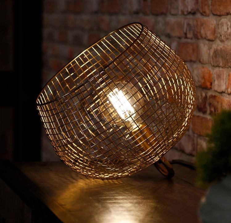 Tafellamp Basket 31 cm hoog in goud
