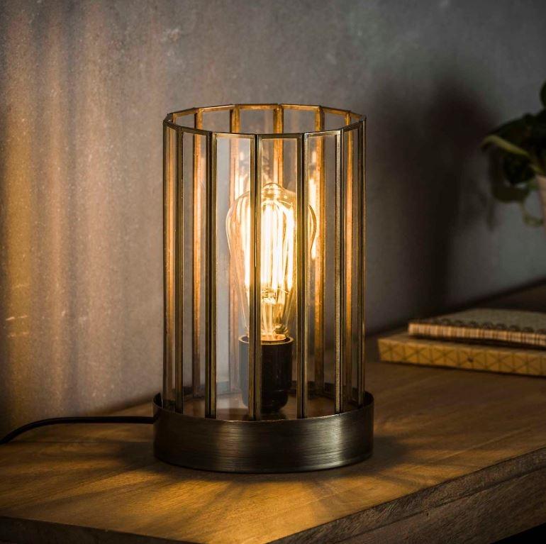 Tafellamp Cylinder 25 cm hoog in brons antiek