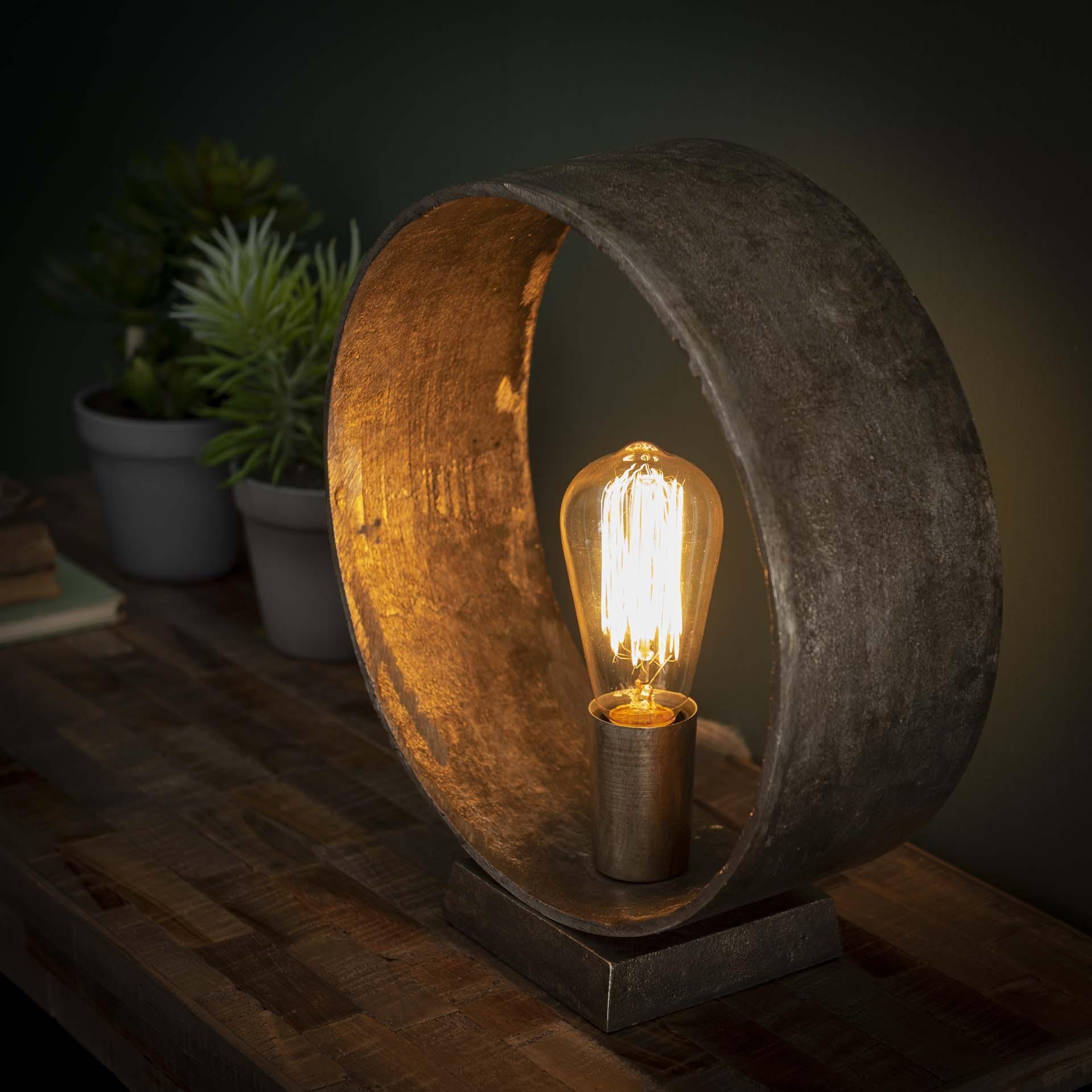 Tafellamp Loop 32 cm hoog in oud zilver