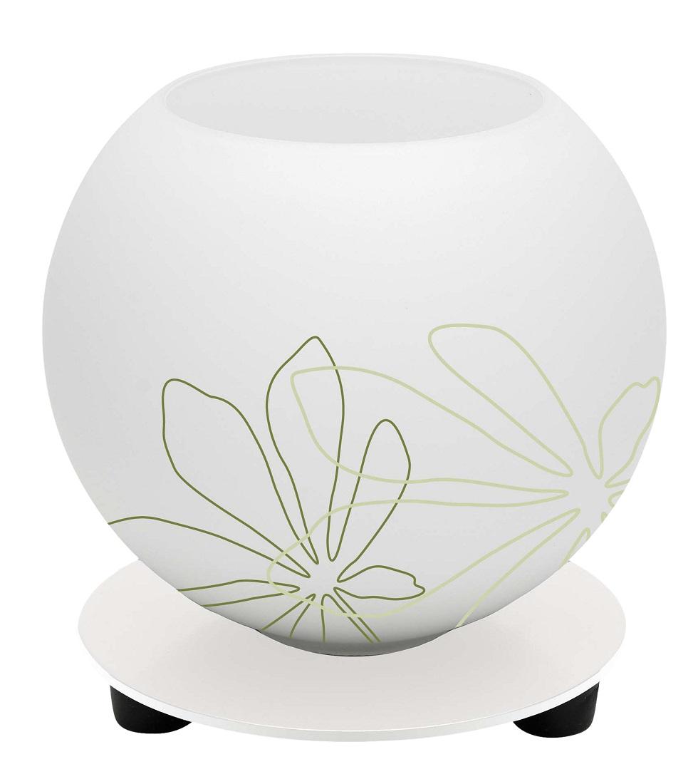 Tafellamp Motief 14 cm hoog in wit met groen bloemmotief