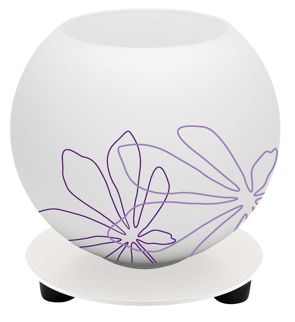 Tafellamp Motief 14 cm hoog in wit met violet bloemmotief
