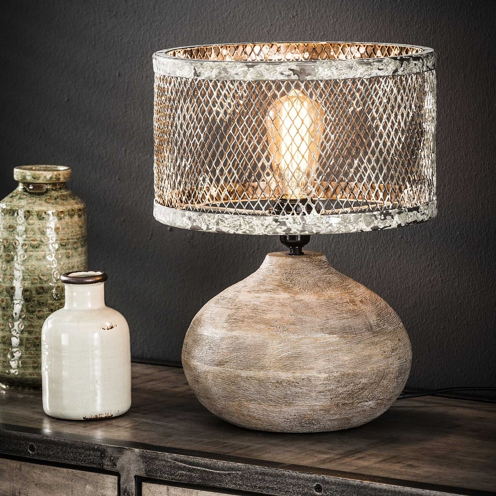 Tafellamp Trunk van 40 cm hoog - Verweerd koper