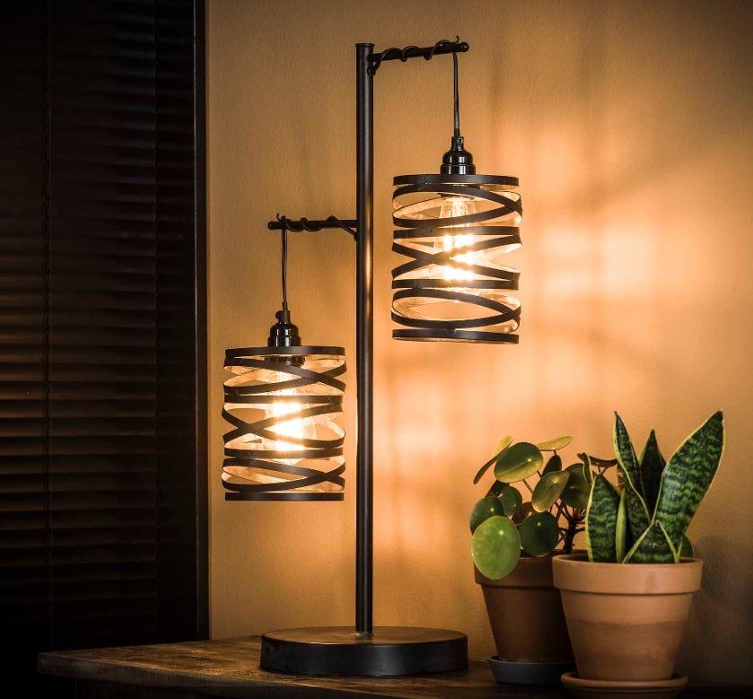 Tafellamp Twister 70 cm hoog in slate grijs