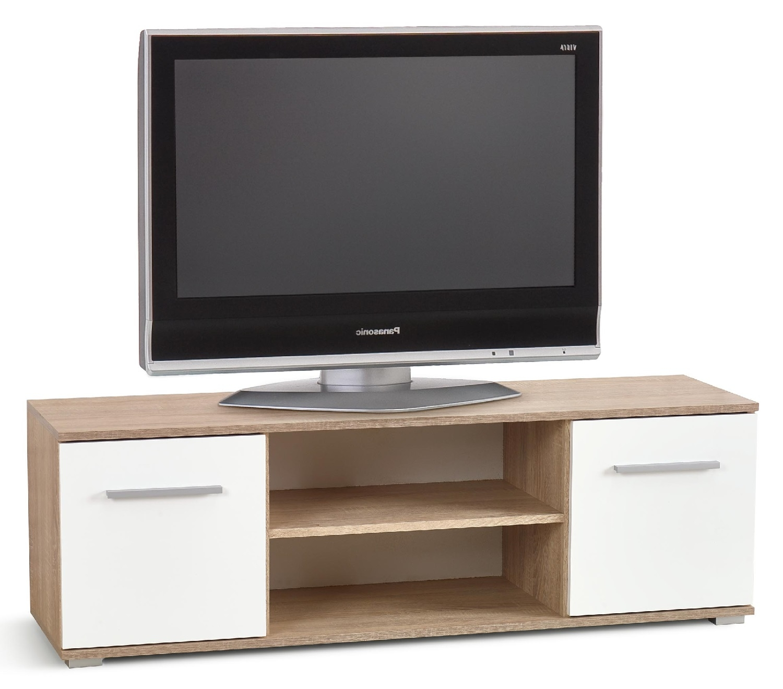 Tv-meubel Lima 137 cm breed in Sonoma eiken met hoogglans wit