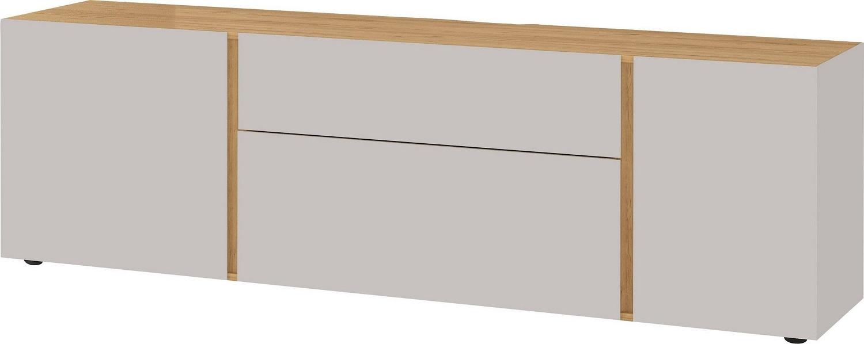 Tv-meubel Mesa 180 cm breed in Cashmere met navarra eiken