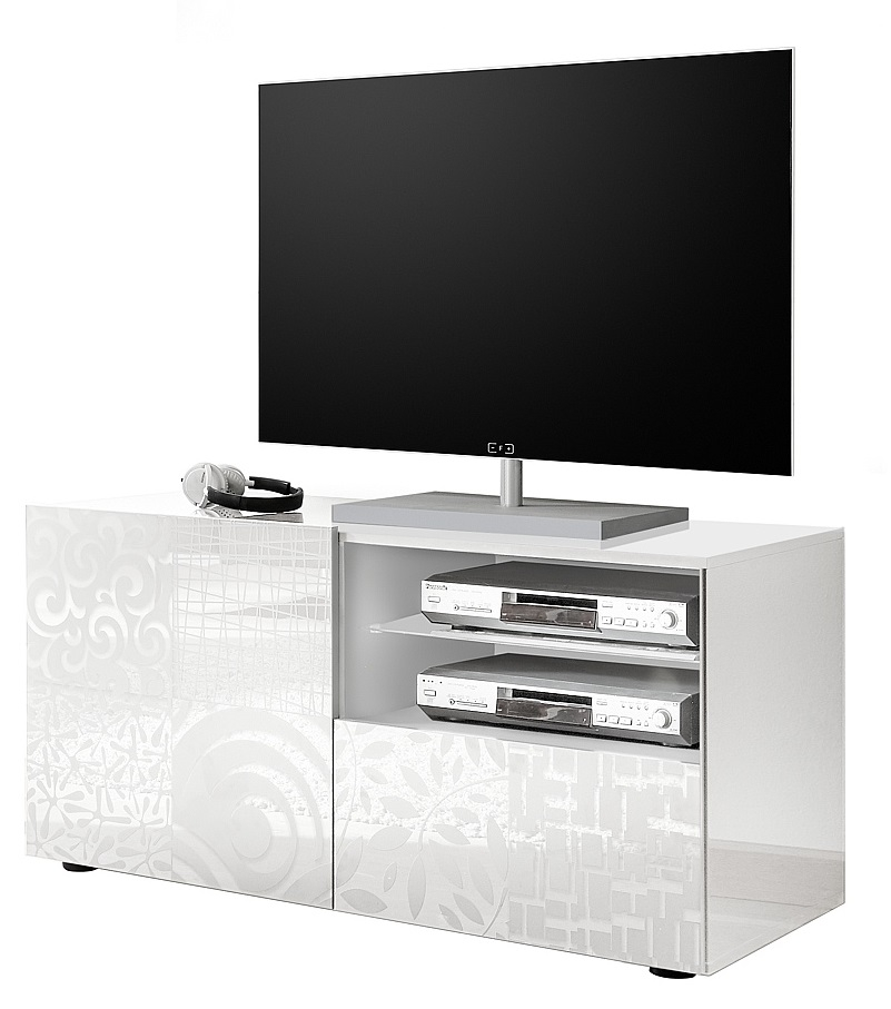 Tv-meubel Miro 121 cm breed in hoogglans wit