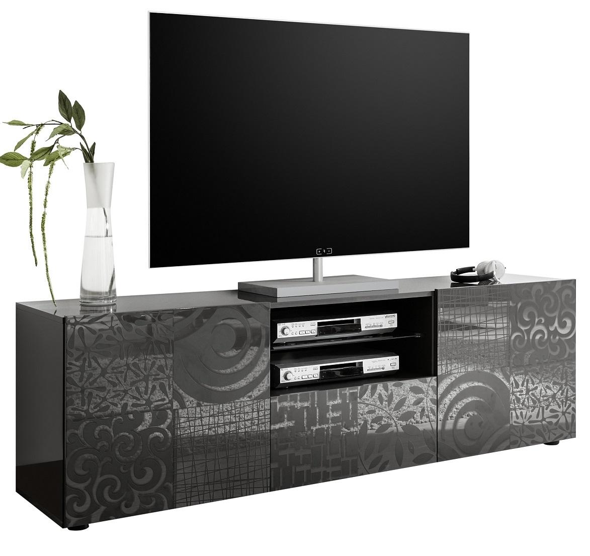 Tv-meubel Miro 181 cm breed in hoogglans antraciet