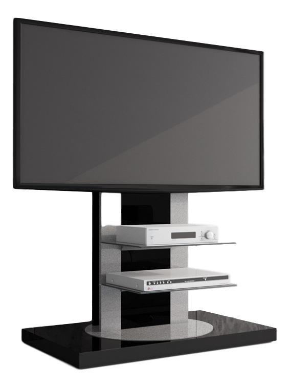 Tv-meubel Roma 2 van 126 cm hoog in hoogglans zwart