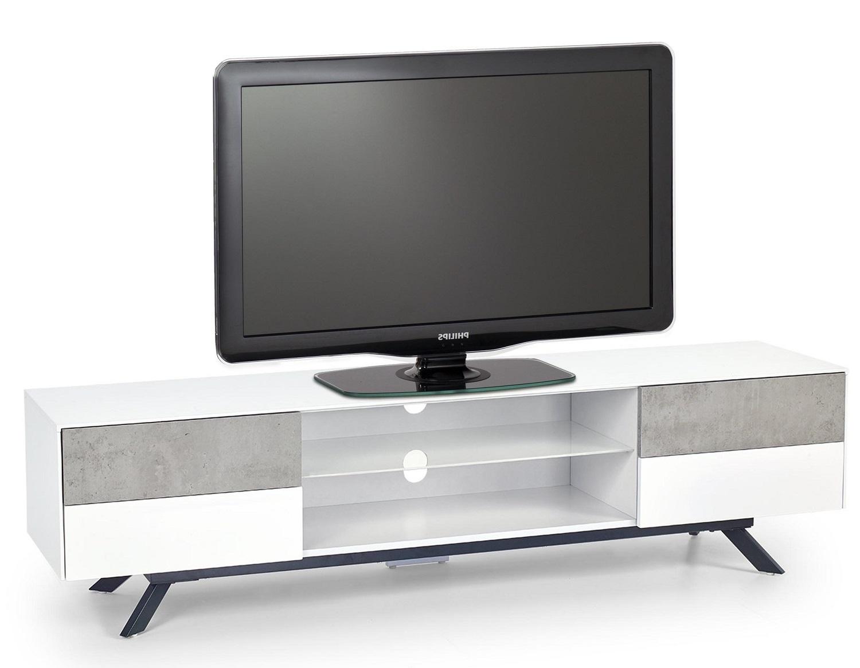 Tv-meubel Stonno 180 cm breed in wit met grijs beton