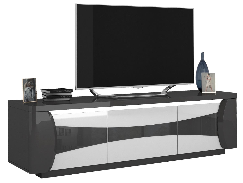 Tv-meubel Tiago 180 cm breed in hoogglans antraciet met wit