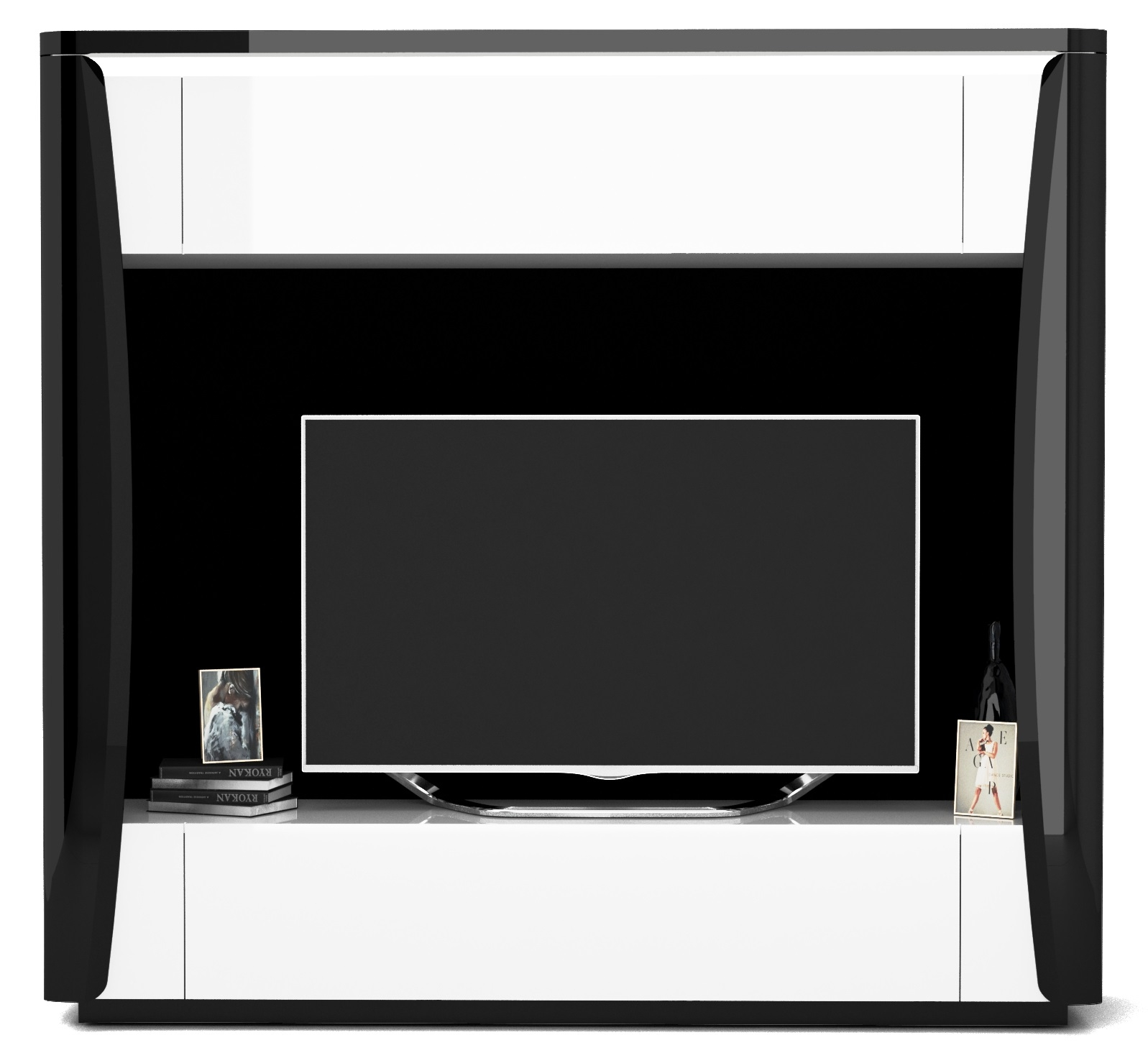 Tv-meubel Tiago 180 cm hoog in hoogglans zwart met wit