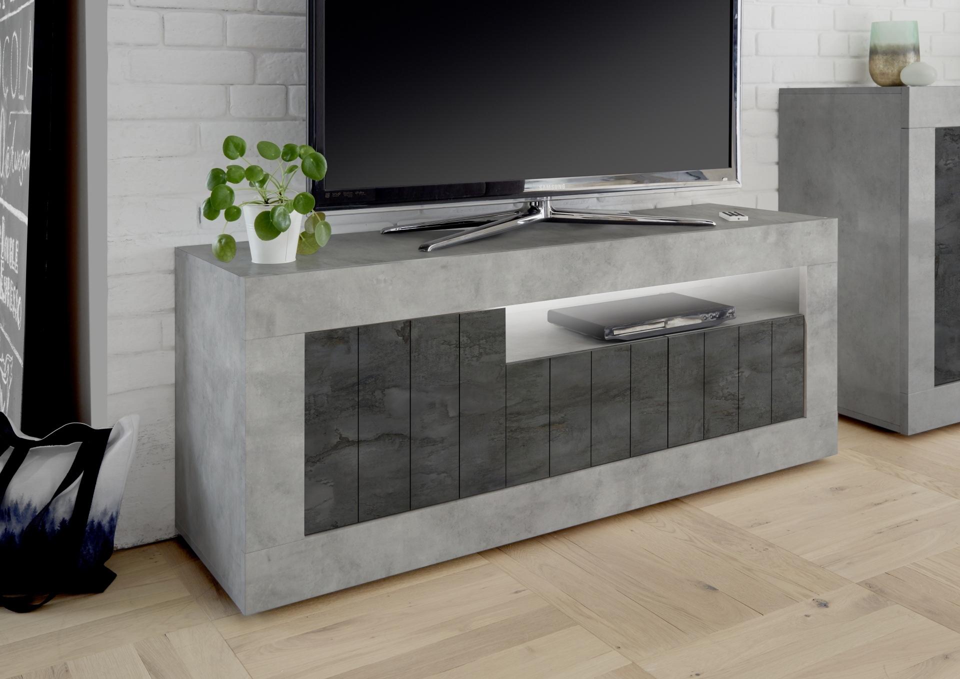 Tv-meubel Urbino 138 cm breed in grijs beton met oxid