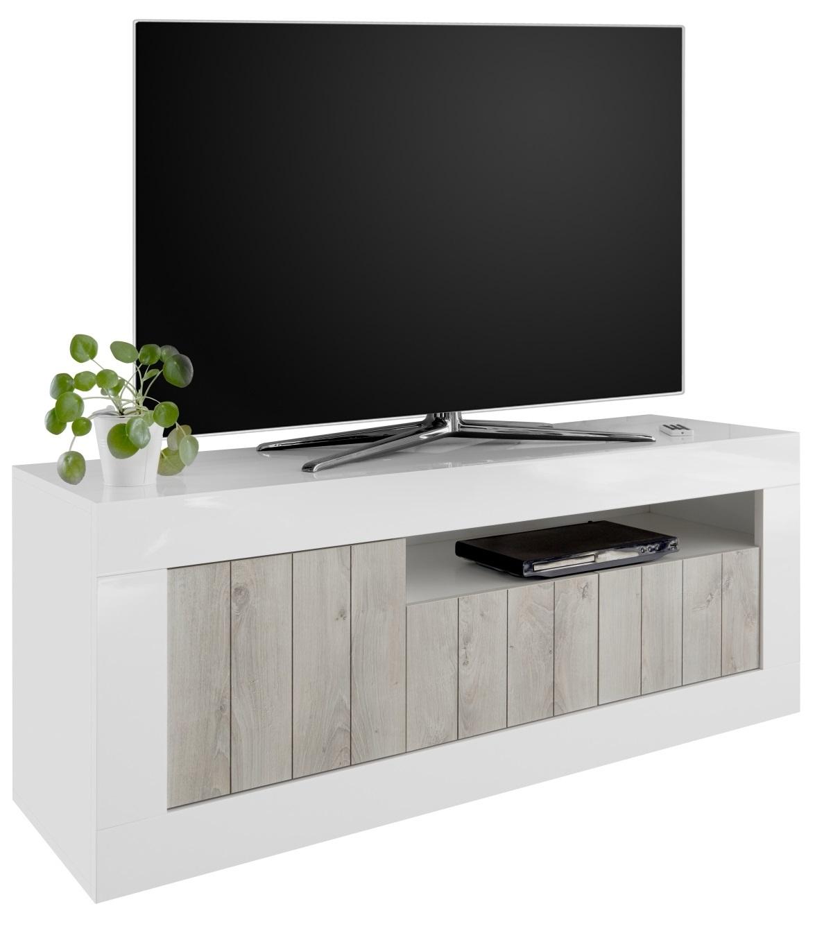 Tv-meubel Urbino 138 cm breed in hoogglans wit met grenen wit