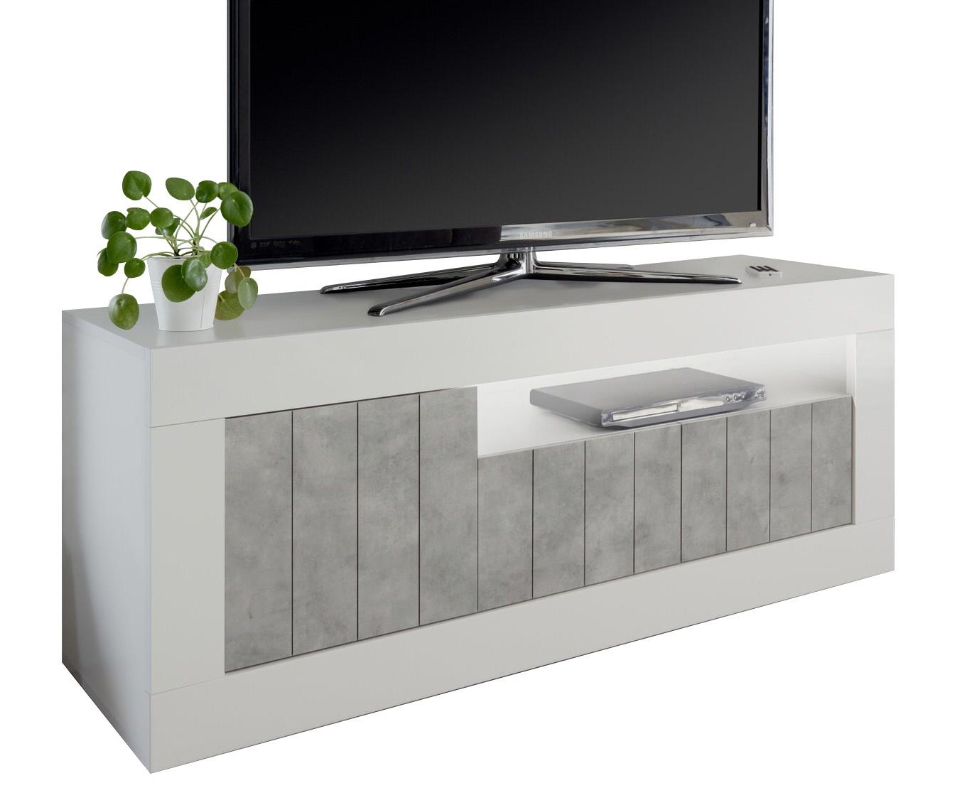 Tv-meubel Urbino 138 cm breed in hoogglans wit met grijs beton