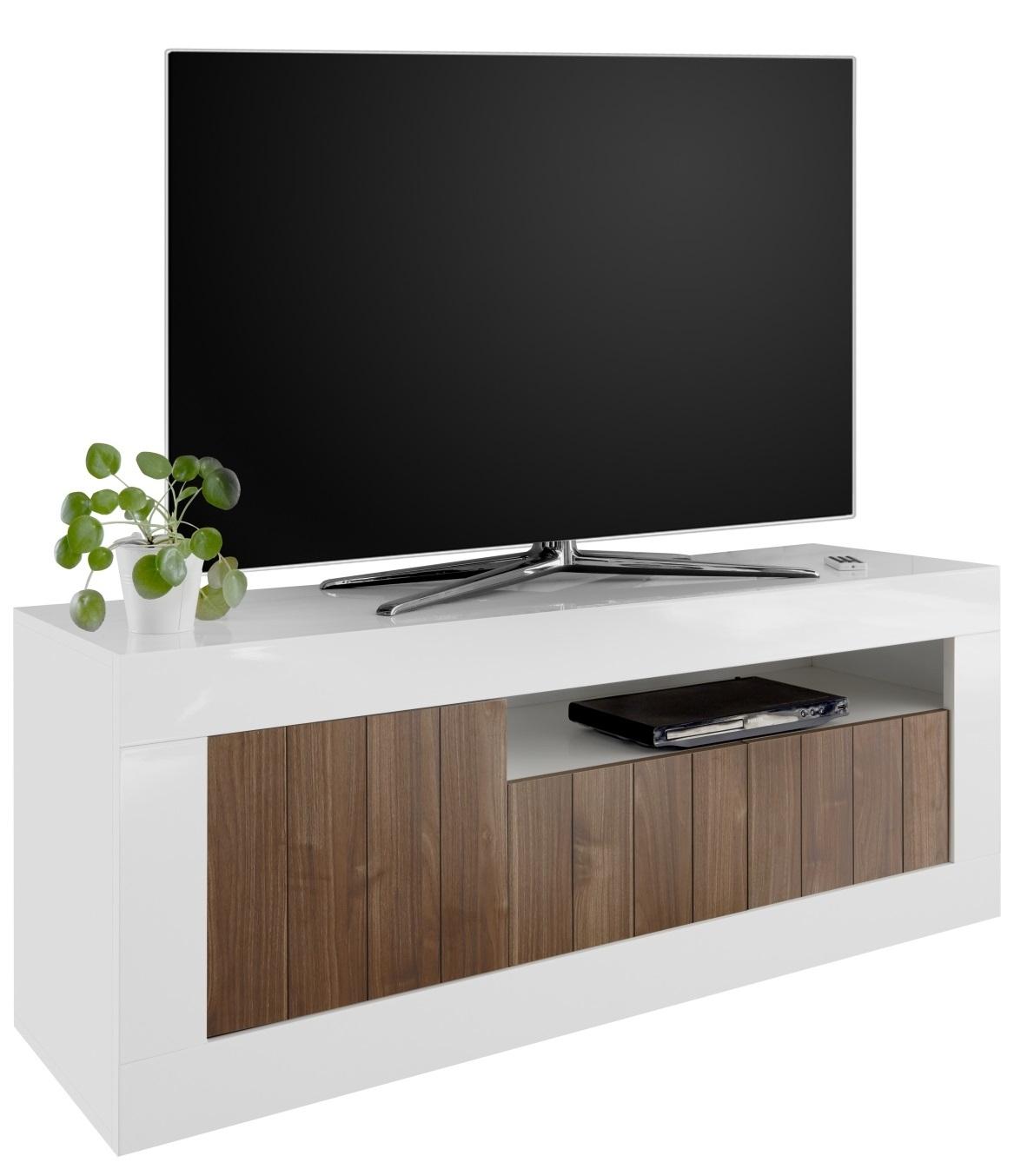 Tv-meubel Urbino 138 cm breed in hoogglans wit met walnoot