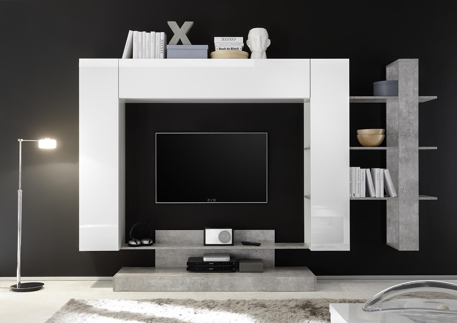 Tv-wandmeubel Jason 259 cm breed in wit met grijs beton