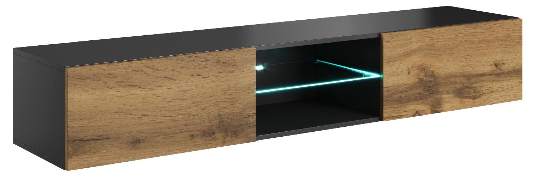 Zwevend Tv-meubel Livo 180 cm breed in votan eiken met antraciet