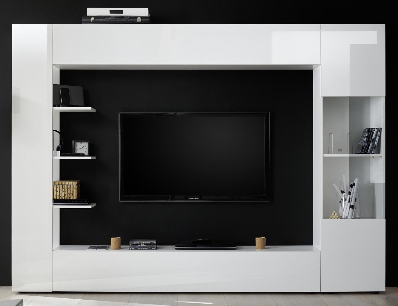 Tv-wandmeubel Marina 295 cm breed in hoogglans wit