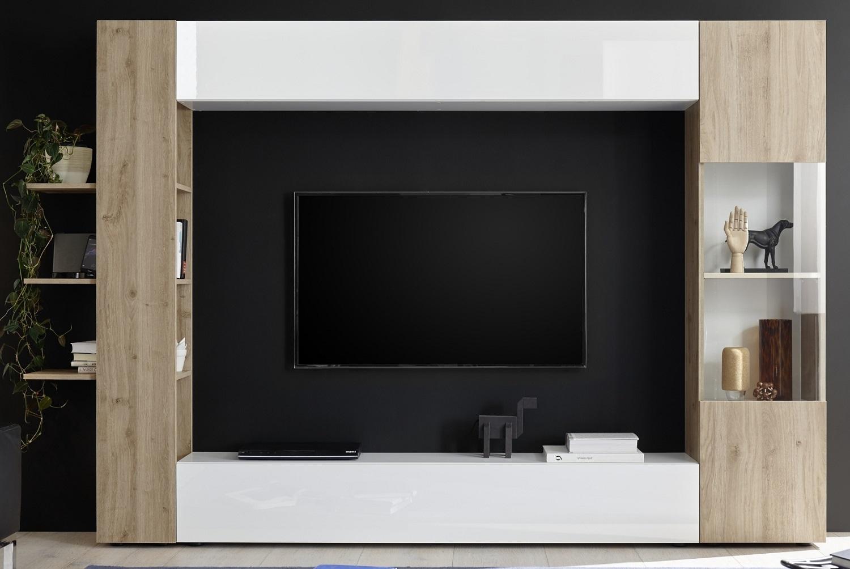 Tv-wandmeubel Marina 295 cm breed in hoogglans wit met cadiz eiken