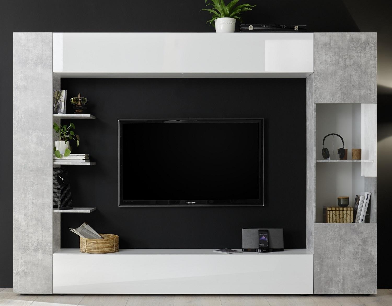 Tv wandmeubel Marina 295 cm breed in hoogglans wit met grijs beton