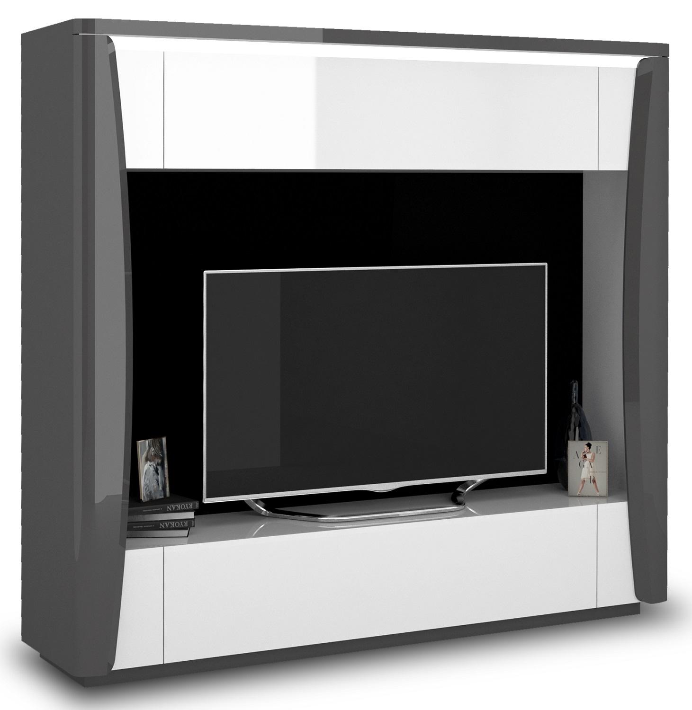 Tv-meubel Tiago 180 cm hoog in hoogglans antraciet met wit