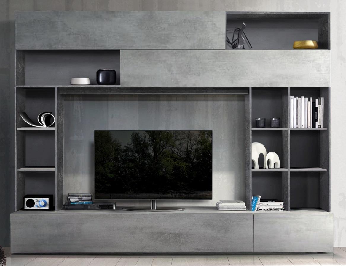 Tv-wandmeubel Tiko 277 cm breed in Oxid met grijs beton