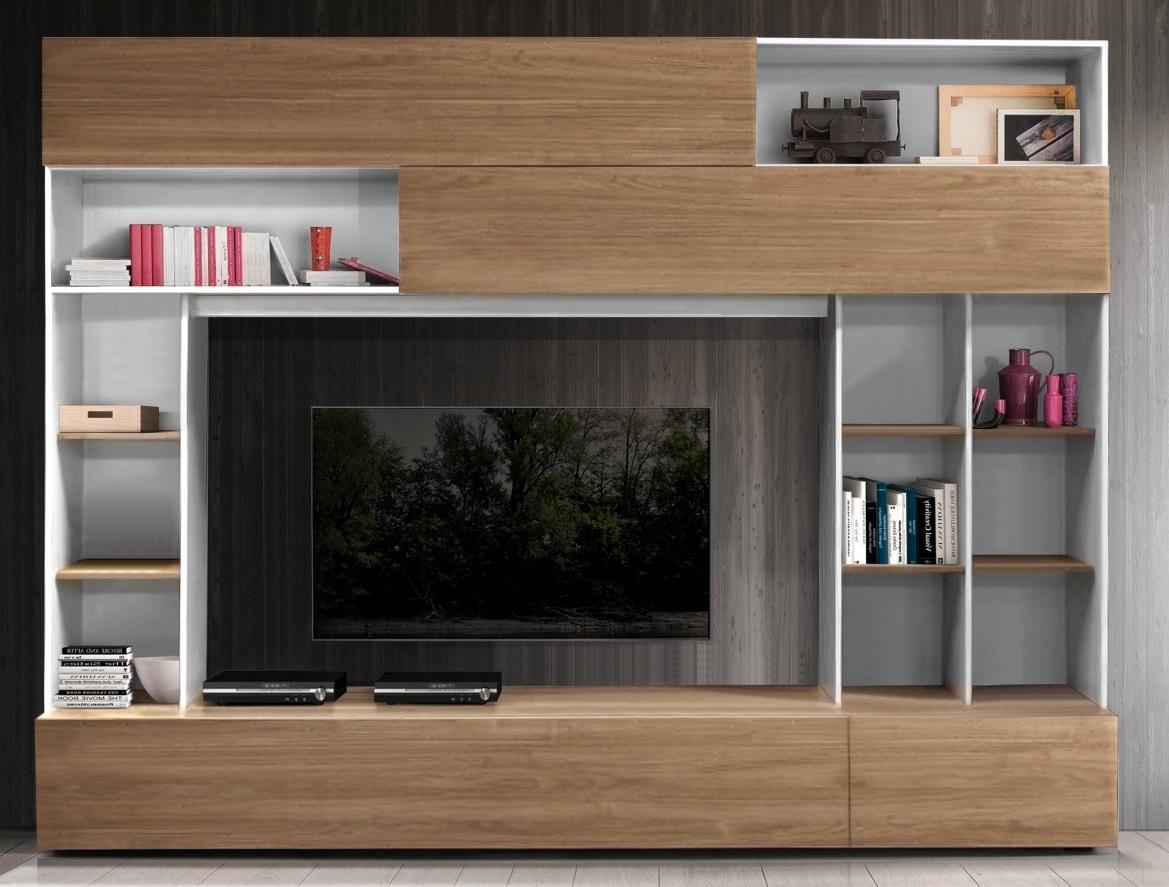 Tv-wandmeubel Tiko 277 cm breed in wit met stelvio walnoot