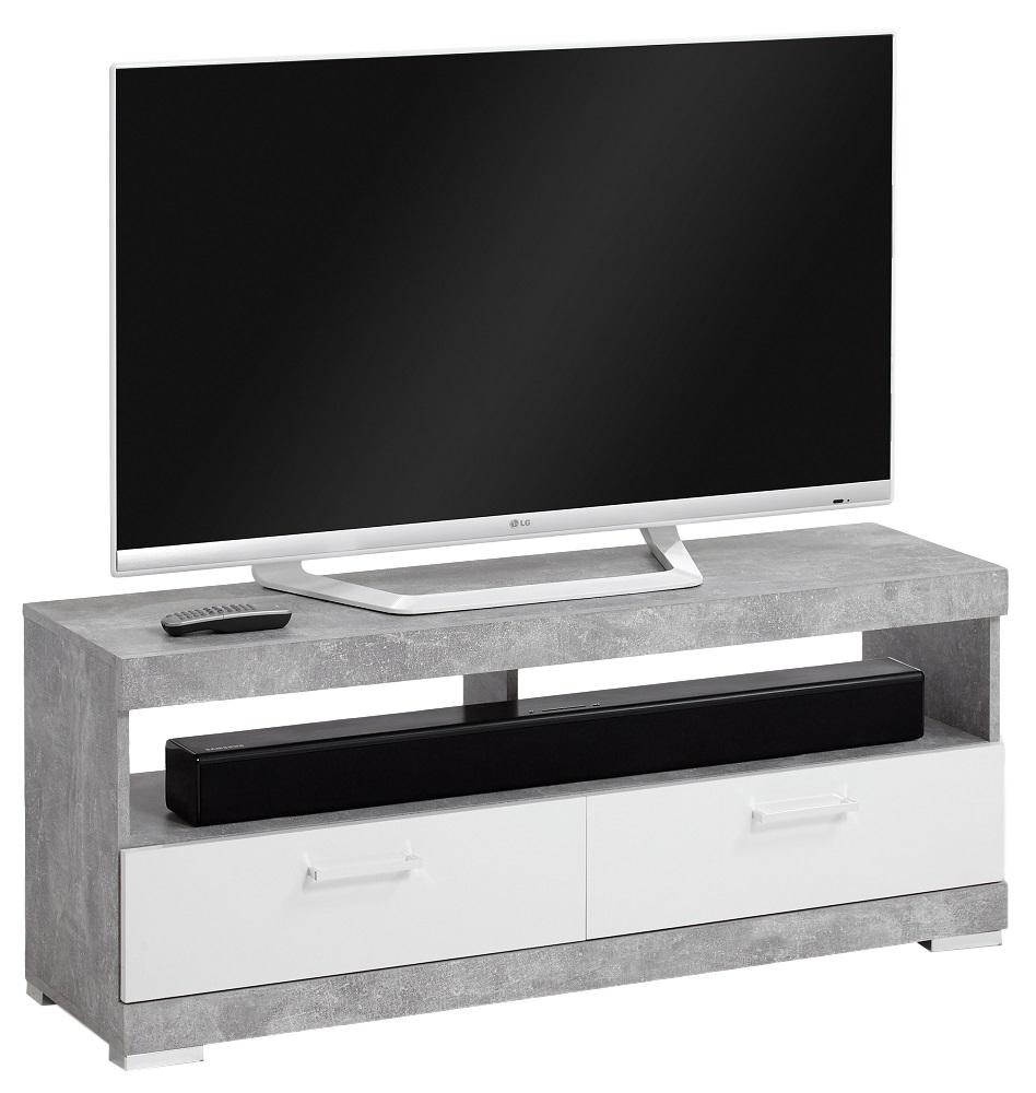 Tv-meubel Bristol 120 cm breed - Grijs beton met wit
