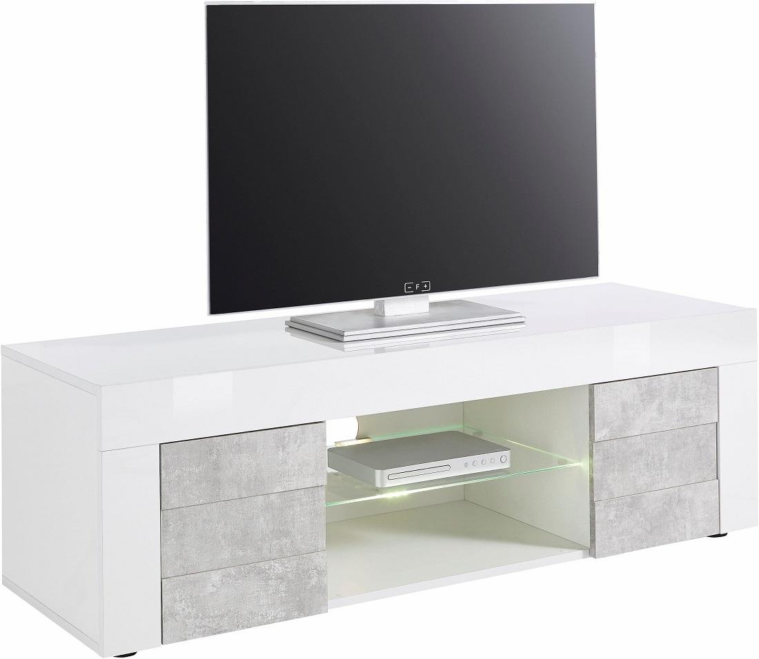 Tv meubel Easy 138 cm breed - hoogglans wit met grijs beton