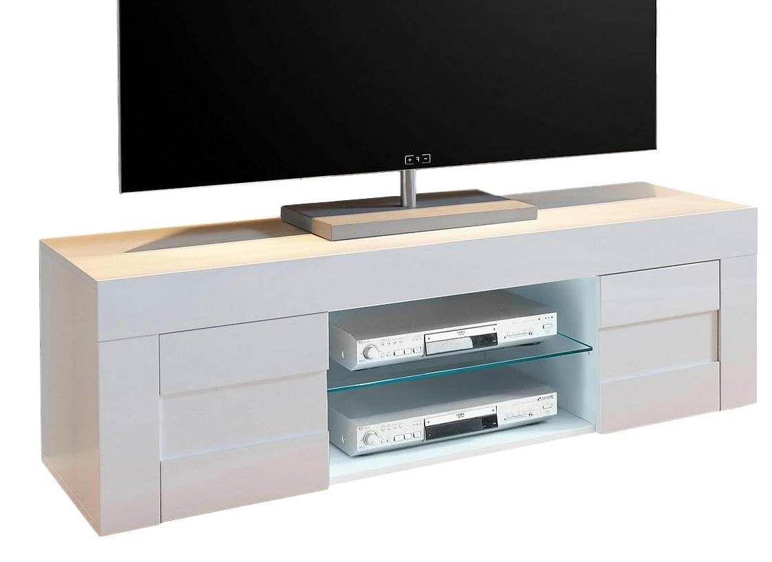 Tv meubel Easy 138 cm breed - hoogglans wit