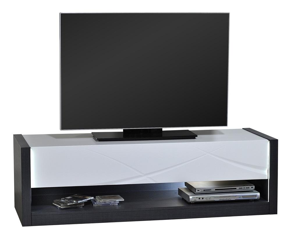 Tv-meubel Elypse 150 cm breed - Hoogglans Wit met Bruin eiken