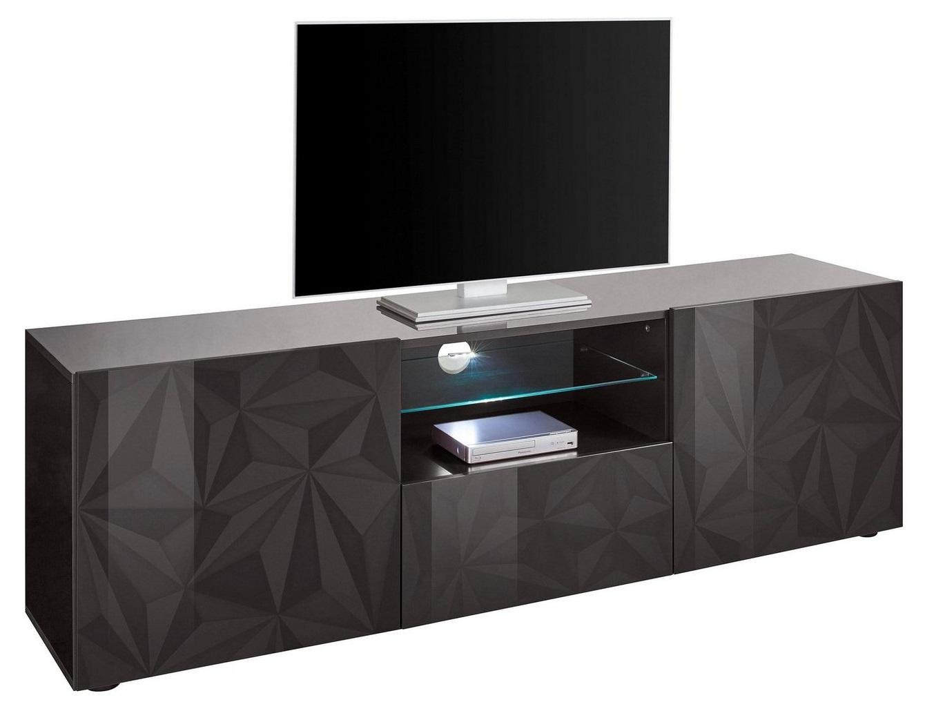 Tv-meubel Kristal 181 cm breed in hoogglans antraciet