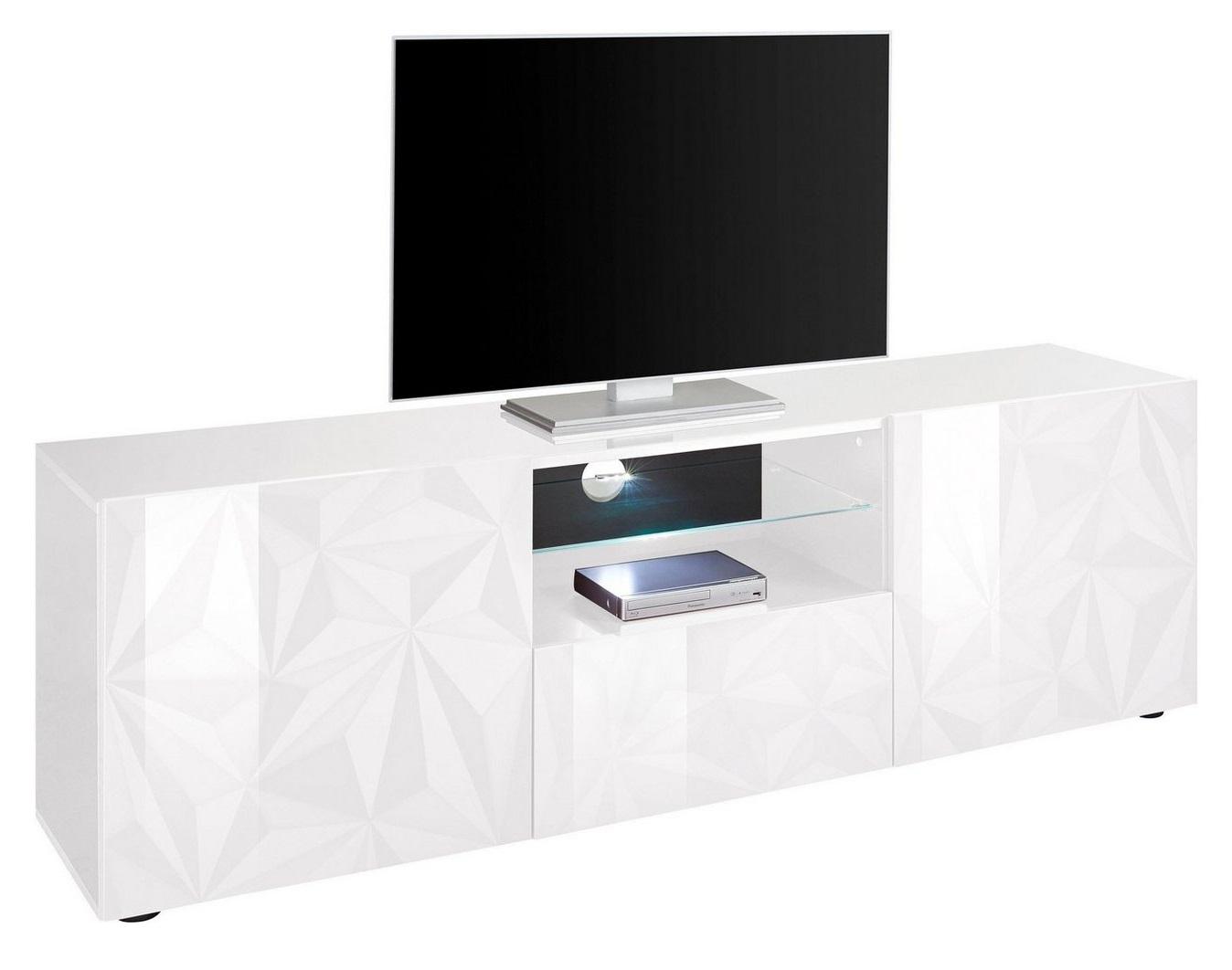 Tv-meubel Kristal 181 cm breed in hoogglans wit