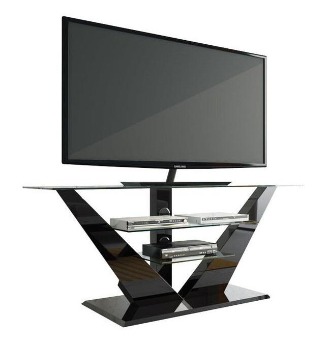 Tv-meubel Luna 140 cm breed met led - Hoogglans Zwart