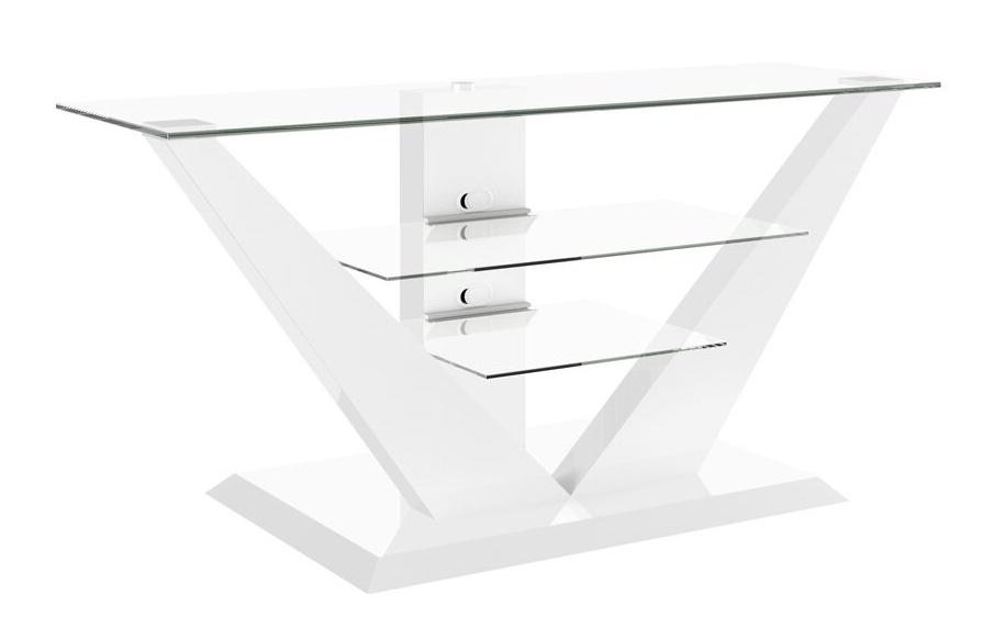 Tv meubel Luna 140 cm breed met Led - Hoogglans wit