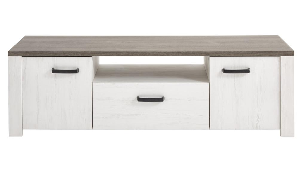 Tv meubel Marka 148 cm breed in grijs eiken met gebroken wit eiken