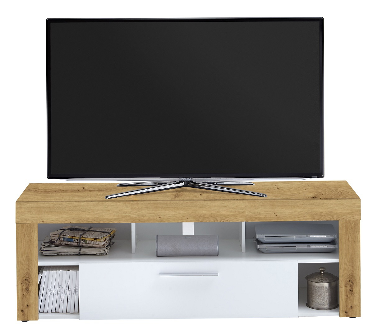 Tv-meubel Raymond 150 cm breed in artisan eiken met wit