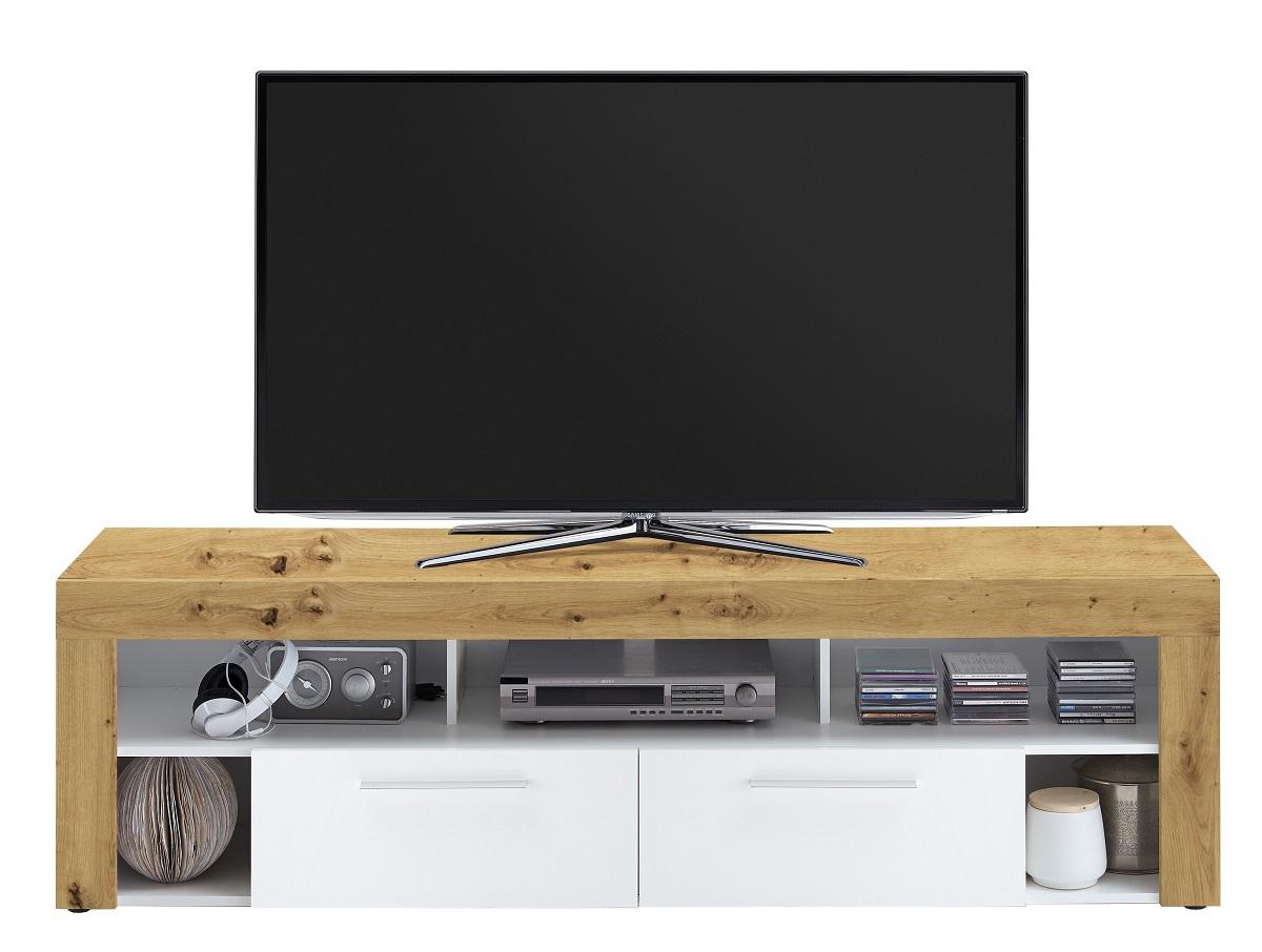 Tv-meubel Raymond 180 cm breed in artisan eiken met wit