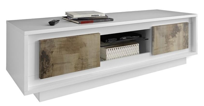 Tv-meubel SKY 156 cm breed in wit met eiken
