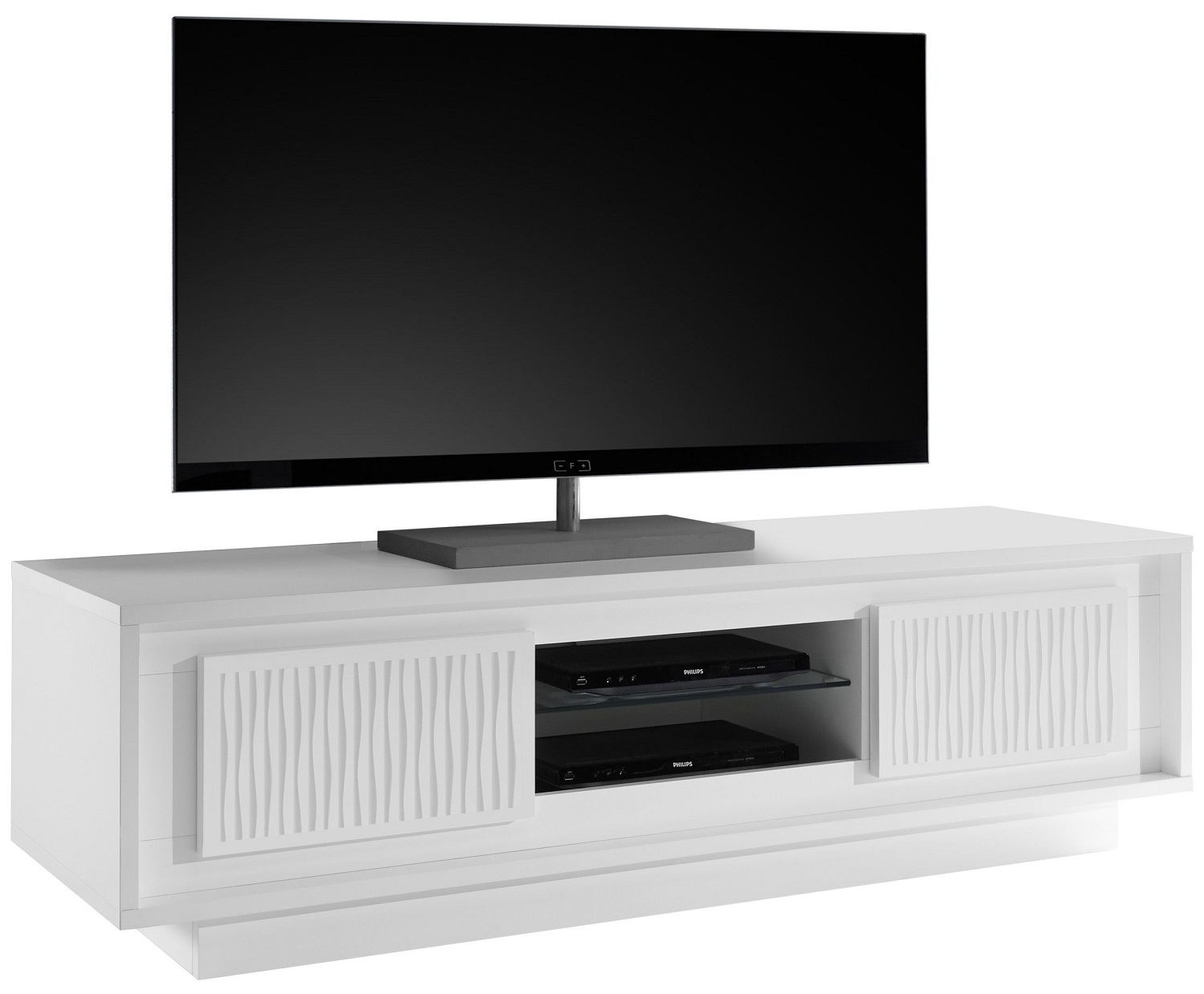 Tv meubel SKY 156 cm breed - Gestreept wit