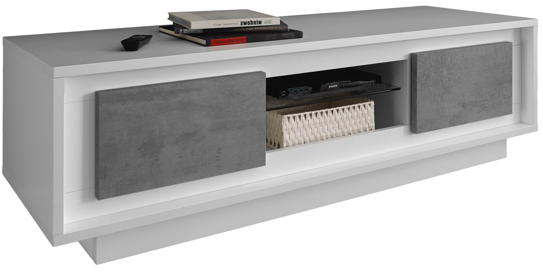 Tv-meubel SKY 156 cm breed in wit met grijs beton