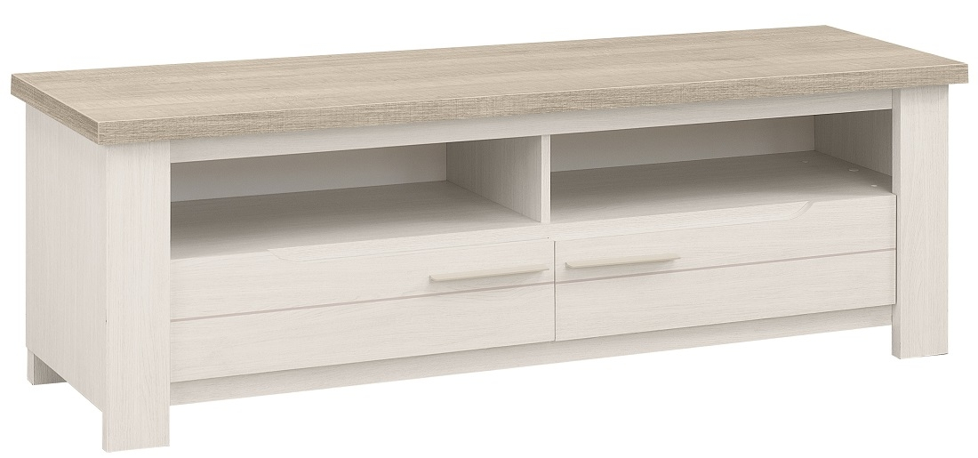 Tv meubel Toscane 156 cm breed in gekalkte esdoorn met eiken
