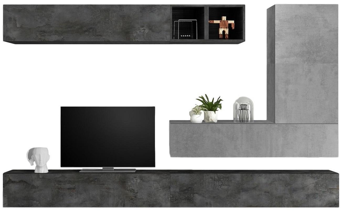 TV-wandmeubel set Adello in beton grijs met oxid