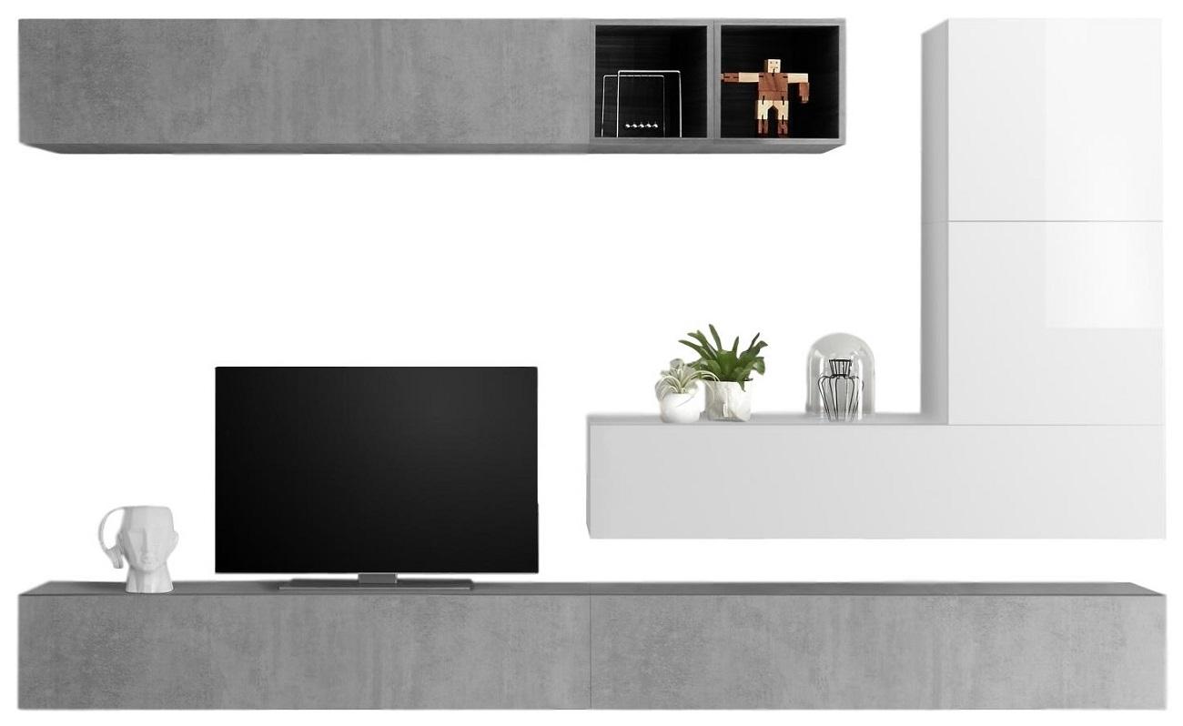 TV wandmeubel set Adello in hoogglans wit met grijs beton